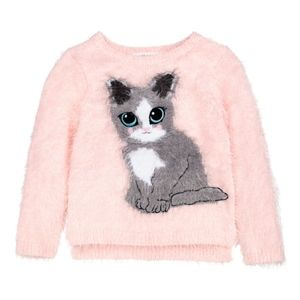 H&M baby pink fluffy sweater with cat